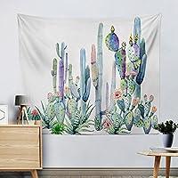 """サボテンDecorタペストリー壁アートSaguaro Cacti Wall Hangingホーム装飾、イエローとグリーン水彩多肉植物Landscape Headboard Beach Throwテーブルランナーテーブルクロスhrgt05 51"""" H x 59"""" W"""