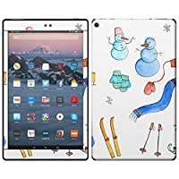 igsticker Kindle Fire HD 10 第7世代 全面スキンシール タブレット tablet シール ステッカー ケース 保護シール 背面 015551 雪 雪だるま スキー 冬