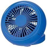 ドウシシャ 4電源(AC,USB,乾電池,充電池) 丸型 10cm コンパクトデスク扇風機 風量2段切替機能付 ブルー NPM-1083B(BL)
