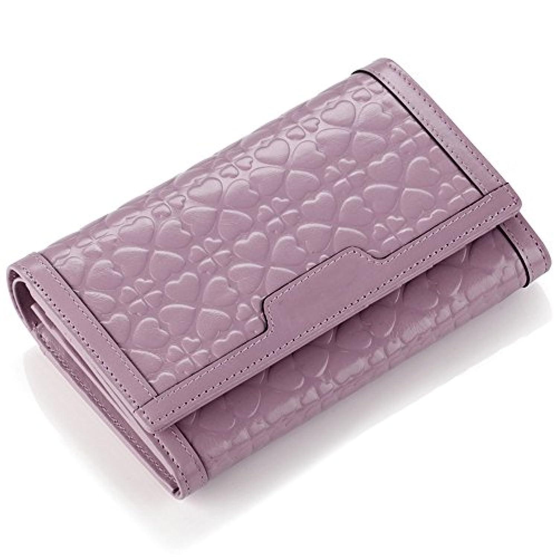 レディース財布レザーショートウォレットカジュアルクラッチエンボスウォレットブラックグリーンシトロンパープル (色 : 紫の)