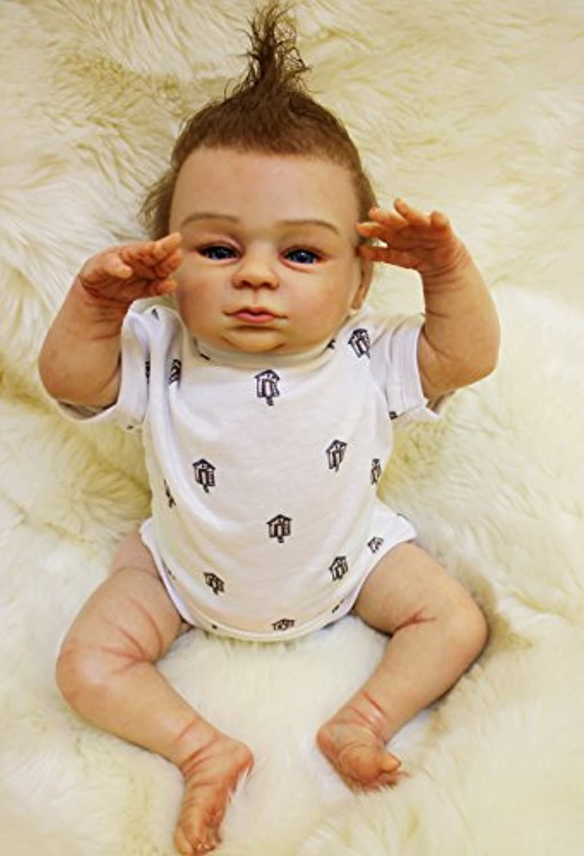 Pursue Baby Handmade Realistic Rebornベビー人形ユーモアライアン、18インチソフトビニールクロスボディLifelikeベビー新生児幼児人形Weighted for realism