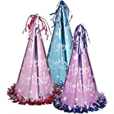 FringedパステルFoil Happy Birthday Party Hats ( Asstd色) Party Accessory ( 1 Count )