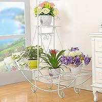 ヨーロッパスタイルのアイアンフラワーラックマルチレイヤー屋内および屋外の植物棚バルコニーリビングルームフラワーポットディスプレイスタンドフロアタイプ ( 色 : 白 , サイズ さいず : 76*24*74cm )