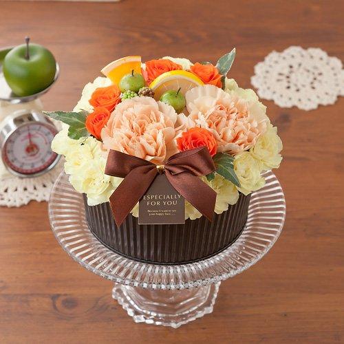 イイハナ・ドットコム アレンジメント フラワーケーキ~オレンジ ショコラ~ キャンドル5本付き