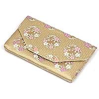 【茶道具 帛紗ばさみ?懐紙入れ】ボタン?ファスナー付き帛紗ばさみ 亀甲に桜の丸 正絹