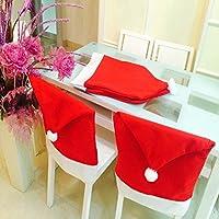 Wassby(TM) 2月4日/ 5 / 6PCSクリスマスサンタクロースの帽子ホーム新年の製品のための椅子裏表紙ナヴィダードクリスマステーブルデコレーション[2個]キャップ
