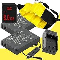 2つLi - 50bリチウムイオン交換用電池W /充電器+ 8GB SDHCメモリカードと防水フローティングストラップfor Olympus Stylus Tough TG - 610, Tough TG - 810, Tough 6000、Tough 6020、Tough 8000、Tough 8010DavisMAX Accessoryバンドル
