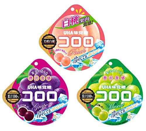 UHA味覚糖 コロロ 3種アソートセット 3種各2個計6個(白桃・グレープ・マスカット)