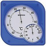 エンペックス 温度計 湿度計 シュクレミディ 置き掛け クリアブルー TM-5606