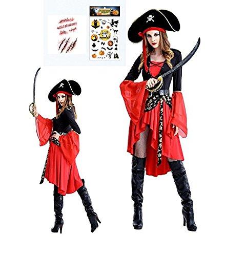 MONDEOLE(モンデオーレ)パイレーツ 女海賊 コスプレ 衣装セット (パイレーツオブカリビアン風海賊レディースコスチューム、帽子、ベルト、特製シール2枚。/ Mサイズ ハロウィン パーティ (海賊女)