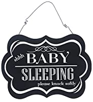 "Adams & Co。9"" x 6"" Hanging木製装飾サイン"" Shhh Baby Sleeping """