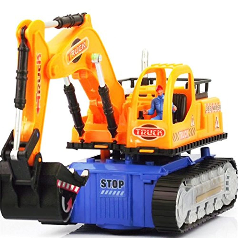 Excavatorトラック玩具、sacow Electric RC掘削Construction Vehicle Toy with ShovelアームClaw点滅ライト音楽