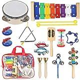 STYDDI 幼児用楽器 - 11種 14個 木製 Xylophone タンバリンセット 子供用 幼稚園教育 早期教育 音楽玩具 男の子と女の子用 収納バッグ付き