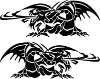 カッティングステッカー ドラゴン 龍 トライバル2・12(左右1セット) 約160mmX約60mm ブラック 黒