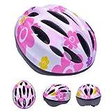 HORIZON 軽量 サイクリング 自転車 用 ヘルメット キッズ ジュニア 子供 用 ダイヤル アジャスター 付き (ピンク・花①, M(45-56CM) 5-12歳)