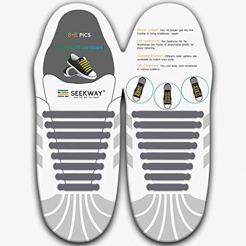 [SEEKWAY] 靴紐 結ばない ゴム 靴ひも 伸縮 靴紐 メンズ レディース用 ほとけない 靴ひも ほどけない 16pcs 10カラー NTS001 (グレー)