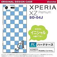 SO04J スマホケース Xperia XZ Premium ケース エクスペリア XZ プレミアム イニシャル スクエア 白×青 nk-so04j-766ini G