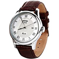 AMPM24 Men's Date Wrist Watch Quartz Business White Dial Brown Synthetic Leather Band WAA1065