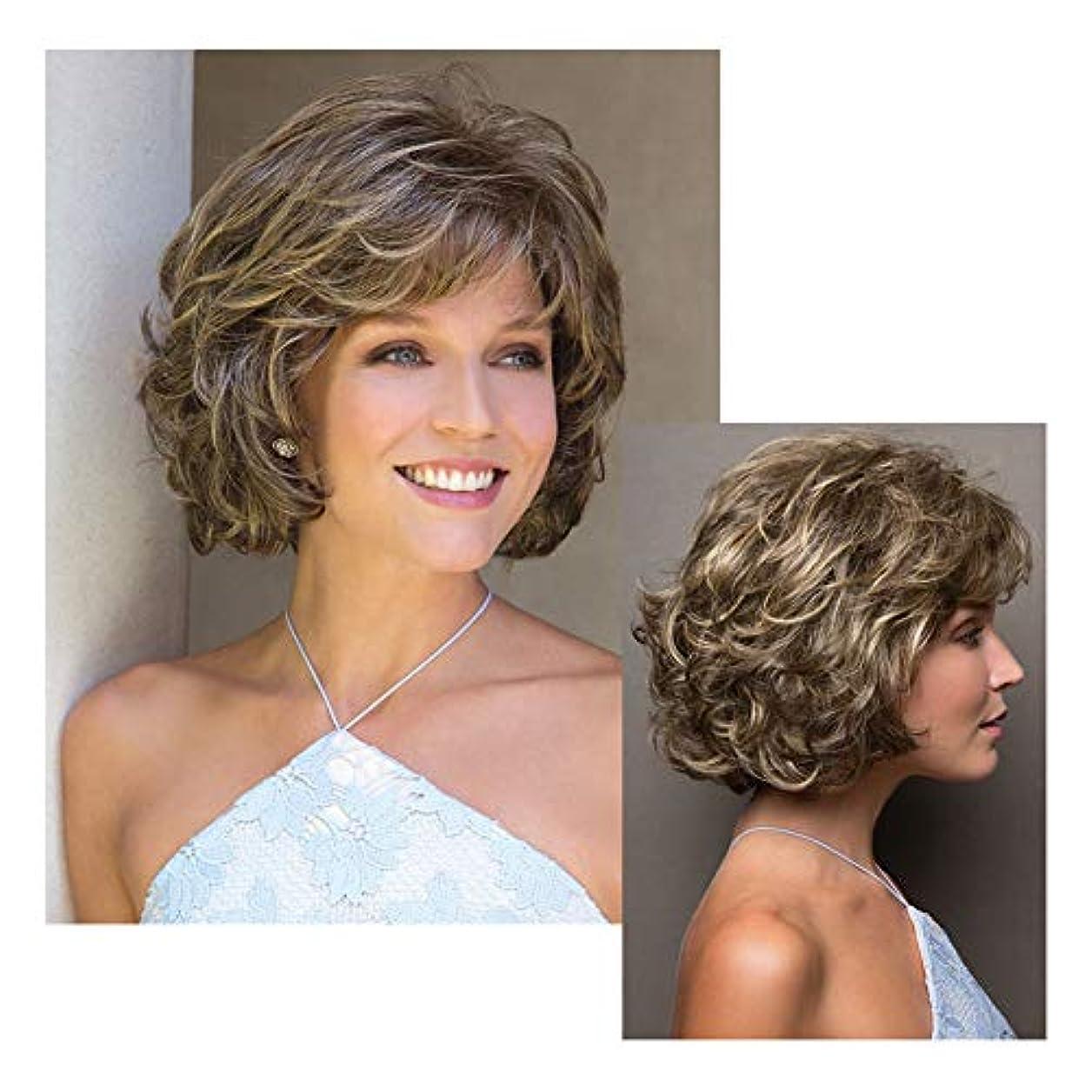 ペレグリネーション電気陽性ハプニング女性用フルウィッグ、10 ``自然な茶色がかった黄色の短い巻き毛の毎日のドレスコスプレパーティーヘアピース