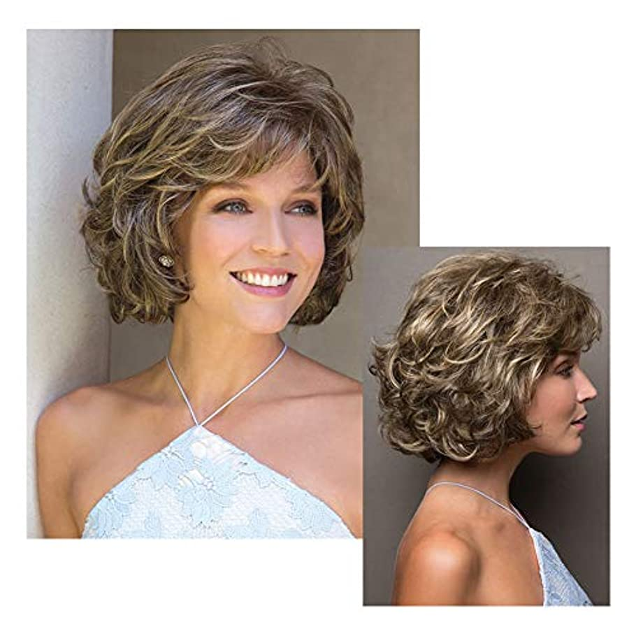 満了ヒゲ黒板女性用フルウィッグ、10 ``自然な茶色がかった黄色の短い巻き毛の毎日のドレスコスプレパーティーヘアピース