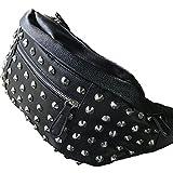 DUSTSTROKE (ダストストローク ) PU レザー ななめがけ ショルダー バッグ ボディ バック スタッズ カバン 鞄 ワンショルダー ストリート カジュアル ロック きれいめ メンズ レディース ユニセックス 黒 ブラック ウエストポーチ