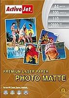 アクティブジェットレーザープレミアムマットフォトペーパーA4マット/ホワイト写真用紙(レーザー/インクジェットプリンタ、A4、100シート、マット、ホワイト)