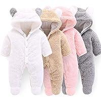 Camidy Newborn Baby Girl Boy Cute Bear Ear Warm Fleece Hooded Jumpsuit Romper Snowsuit