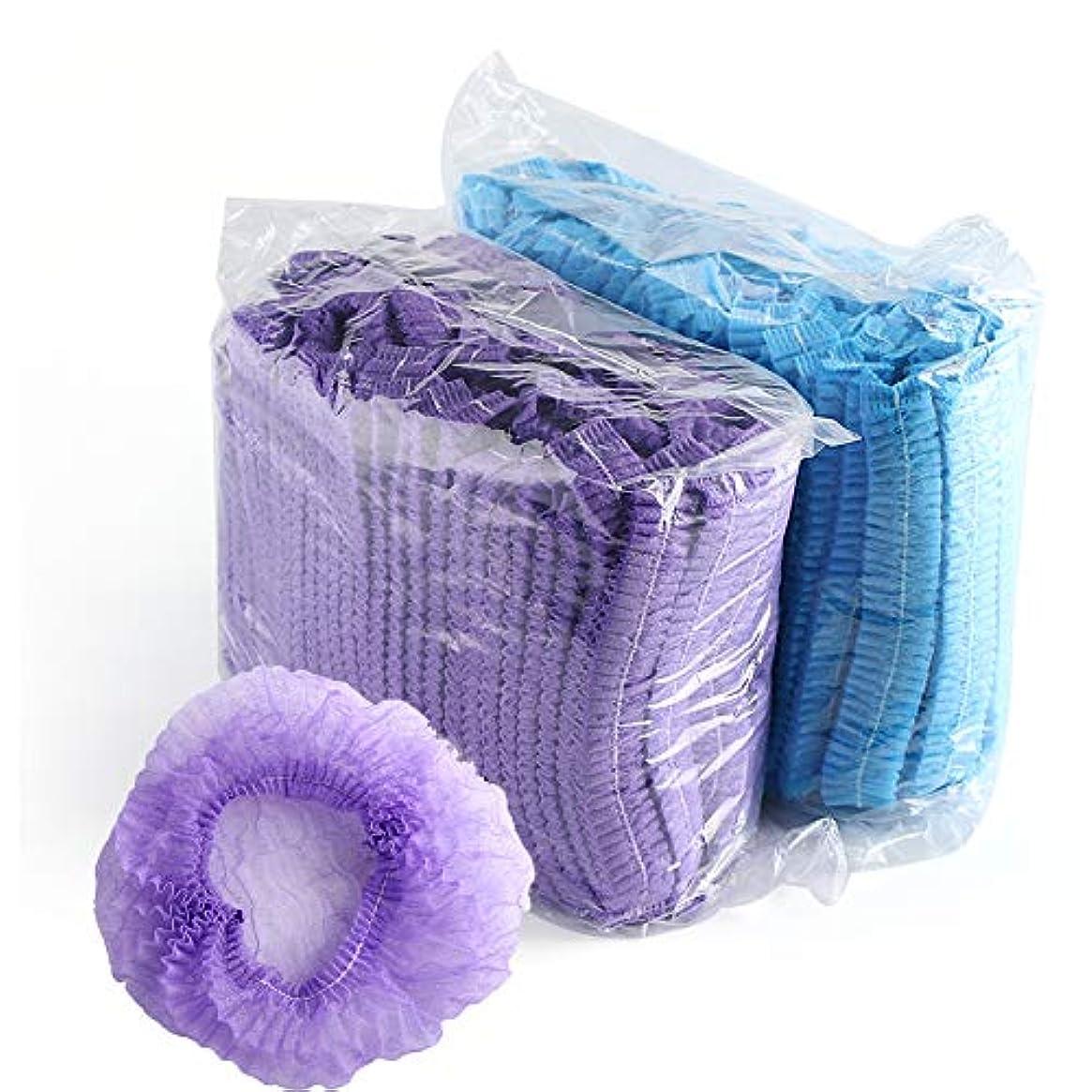 絶望的なおとこ受け入れる100ピース使い捨てストリップシャワーキャップ不織布シャワーキャップホテルシャワーキャップ染めヘアキャップ防水クリーニング美容サロンタトゥー帽子 (Blue)