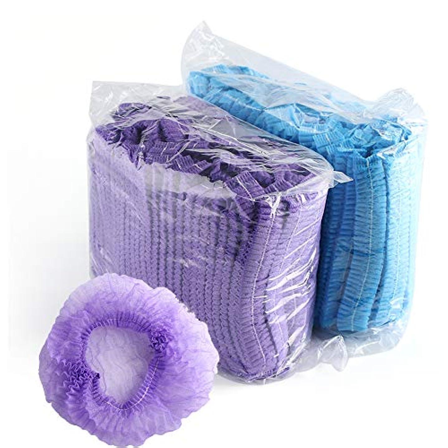 気付くみ一掃する100ピース使い捨てストリップシャワーキャップ不織布シャワーキャップホテルシャワーキャップ染めヘアキャップ防水クリーニング美容サロンタトゥー帽子 (Blue)