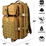 ZTHY Military Tactical Rucksack, Waterproof 600D Oxford fabric Outdoor Tactical Bag Shoulder Expandable Hunting Tactical Daypack & Sport Casual Backpack for Camping Trekking Travel Hunting 40L (Khaki)(including survival kit)