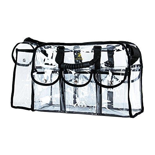LUVODI 透明バッグ プールバッグ ボストンバッグ トイレタリーバッグ pvc クリア バッグ ビニール バック 透明 丈夫 化粧バッグ 大容量 トート ショルダー バッグ 2way Lサイズ