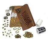 【CRSHIP】クラシップ レザークラフト DIY材料作りに必要な金具セット &オリジナルPU革パッチ付き (ゴールド)
