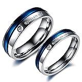 Rockyu ジュエリー ペアリング メンズ レディース ブランド 人気 リング チタン おしゃれ 刻印 婚約指輪 ゴールド ジルコニア CZ 結婚 指輪 (青(女性), 15)