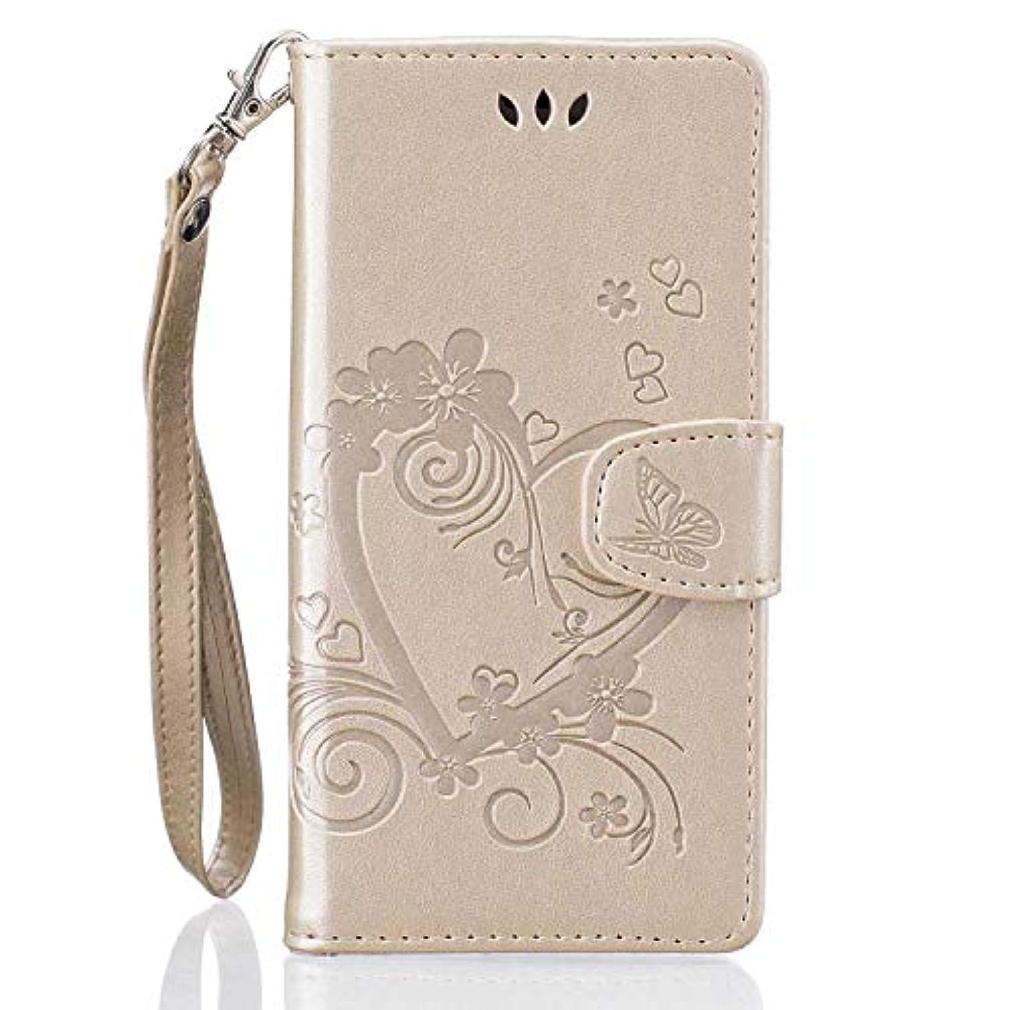 指吹雪適性Huawei P9 Lite手帳型ケース Zeebox® 軽量 PU レザー マグネット式 手帳型保護ケース, ハート型のエンボスパターン 可愛 女性向 スマートフォンケース, カード収納 スタンド 機能, Huawei P9 Lite対応, ゴールド