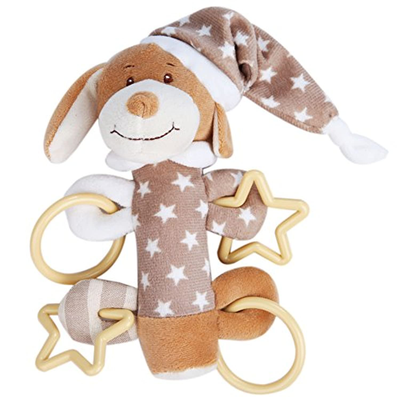 【Ani Mam Kids】ベビー用 かわいい 動物 ふわふわ にぎにぎ 音が鳴る 知育玩具 ナイトウェア着用 アニマル (いぬくん)