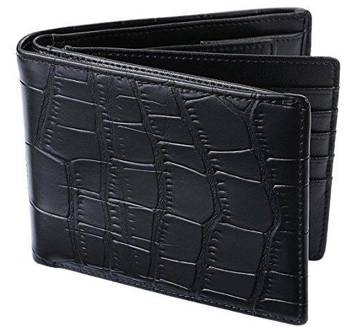 [レガーレ] 二つ折り財布 本革 大容量 カード15枚収納 カラー豊富 (ベロア化粧箱入り) 大容量2つ折り財布 クロコブラック×ブラック