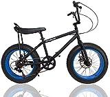 ファットバイク カスタム FAT BIKE 20インチ 自転車 ギア付 バナナシート仕様 (BLACK/BLUE, 20インチ)