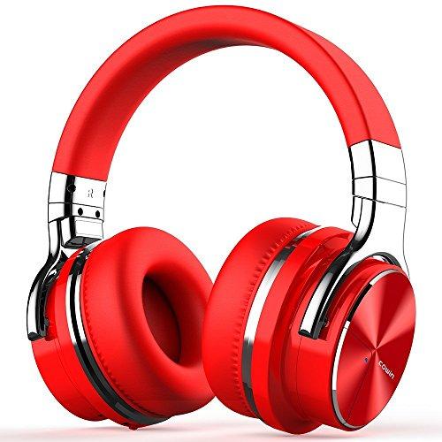 【2018年 ノイズキャンセリング進化版】COWIN E7 PRO ワイヤレス ノイズキャンセリング Bluetooth ヘッドホン 密閉型 高音質 内蔵マイク NFC搭載 ケーブル着脱式 30時間再生 ハンズフリー通話可能 iphone PC Mac などに対応 ヘッドフォン (レッド)