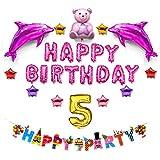 5歳 お 誕生 日 プレゼント 女の子 イルカ ピンク ハッピーバースデー パーティー 飾り用 バルーン 風船 空気入れ ポンプ付き セット