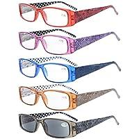 Eyekepper 5-Pack Spring Hinges Polka Dots Patterned Temples Rectangular Reading Glasses Sunshine Readers +1.5