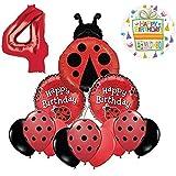 Mayflower Products てんとう虫 4歳の誕生日パーティー用品 バルーンブーケデコレーション