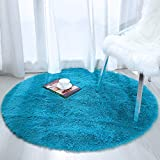Softlife Fluffy Soft Round Bedroom Rugs 4 x 4 Feet Shaggy Circle Area Rug for Girls Boys Kids Room Nursery Princess Castle Living Room Home Decor Circular Floor Carpet, Turquoise Blue