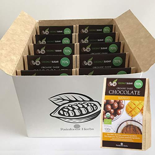マンゴー オーガニックダークチョコレート ペルー産カカオ70% 有機ココナッツシュガー 100g 10個