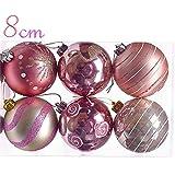Valery Madelyn クラシック クリスマス オーナメント ボール 8cm 6個入り シルバー ピンク クリスマスツリー 飾り 雑貨 装飾 サイズ