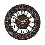 WSJ 壁掛け時計 おしゃれ 北欧 アンティーク 連続秒針 フック付き ブラック