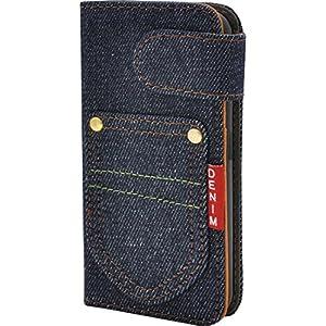 PLATA iPhone SE / 5s / 5 ケース 手帳型 デニム スタンド ポーチ カバー アイフォン iPhone5 iPhone5s カジュアル ポケット 【インディゴ 】 IP5-5058-A
