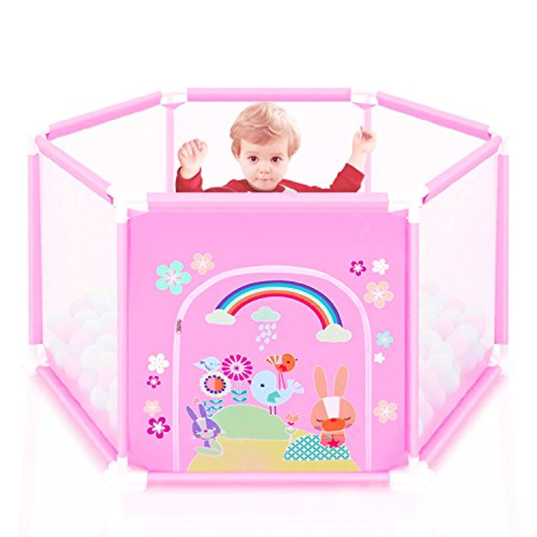 GrowthPic ベビーサークル プレイヤード 簡単組み立て 収納 六角形 洗えるソフトベビーフェンス セーフティーグッズ ピンク