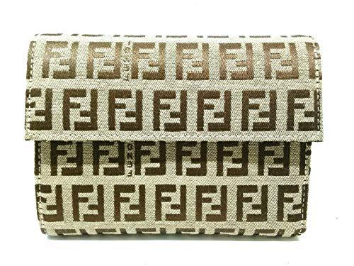 (フェンディ)FENDI 3つ折り財布 ズッキーノ柄 ベージュ×ダークブラウン 8M0001 【中古】
