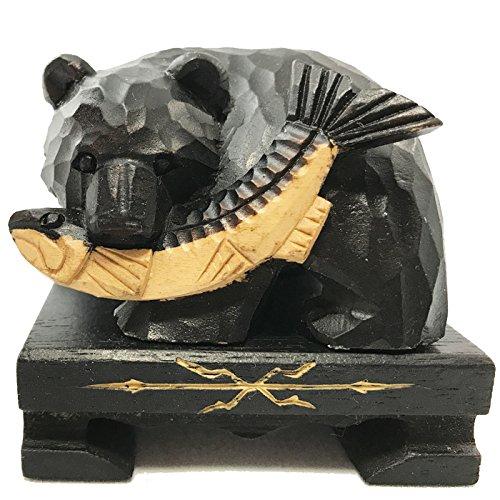【ノーブランド品】  木彫りの熊 鮭喰い熊 小 台付き