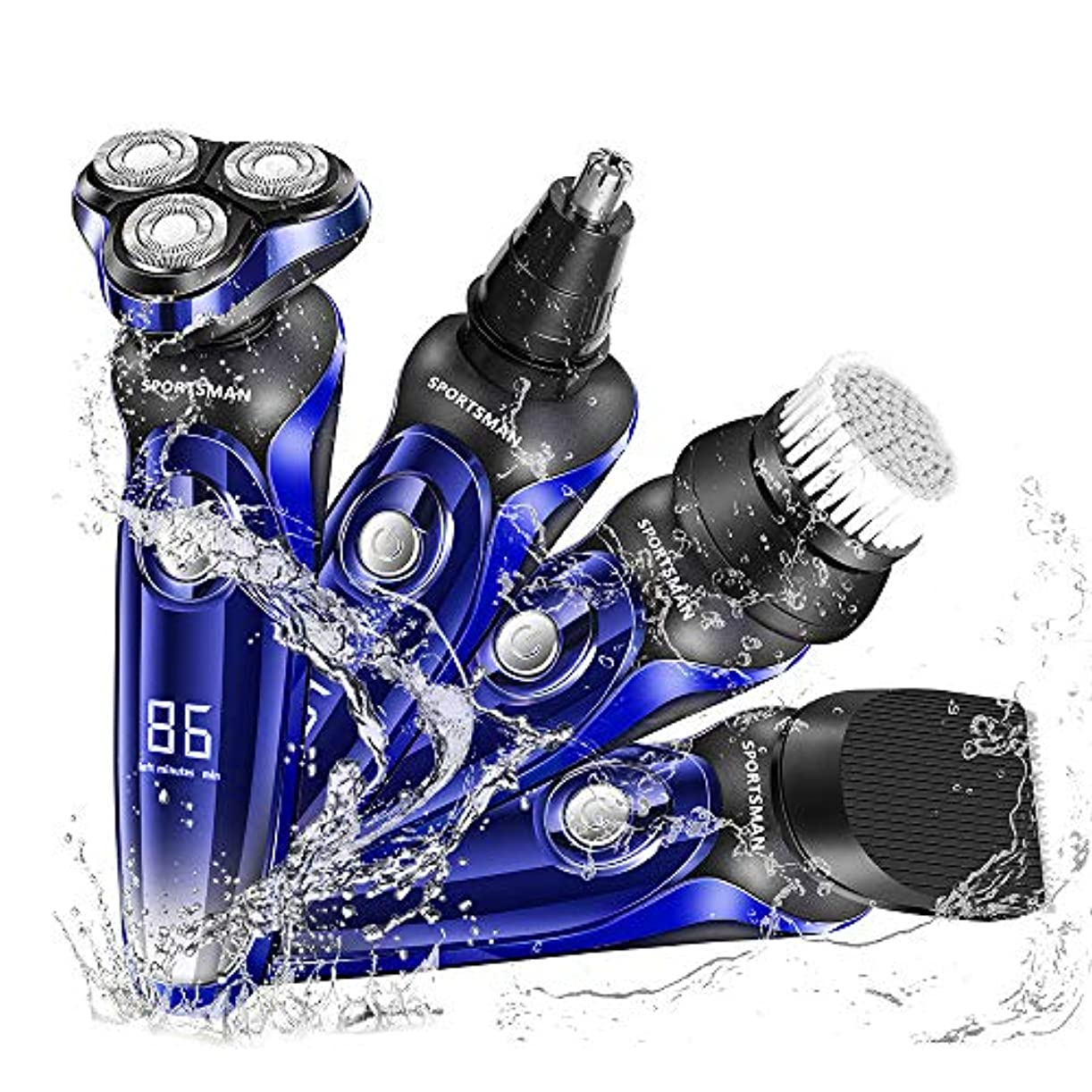 化学薬品パラダイスるシェーバー 電気シェーバー 電動シェーバー メンズ 髭剃り 電動バリカン 一台四役 鼻毛カッター 洗顔ブラシ付き 回転式ロータ リシェーバー USB充電式 LEDディスプレイ IPX7防水 丸洗い可